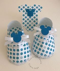Baby Shower Boy Shoe Favor Boxes & Bodysuit Die Cuts, Mickey Mouse, Dots, 10  | eBay