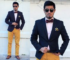 Work Wear: Navy Blazer + Mustard Pants + Maroon bowtie