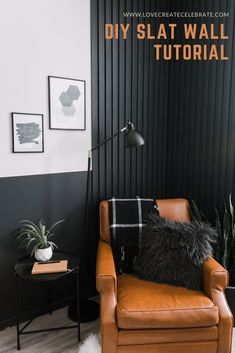 Love this wood slat accent wall tutorial! Make your own DIY modern wall with this easy video tutorial. You can modify the design for horizontal slats, vertical slats, painted or stained wood slats. Feature Wall Living Room, Accent Walls In Living Room, Accent Wall Bedroom, Living Room Modern, Black Bedroom Walls, Black Walls, Black Living Rooms, Diy Living Wall, Bedroom Wall Lights