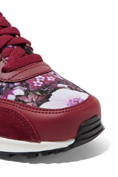 212788d19a Nike - Air Max 90 Se Floral-print Canvas, Leather And Suede Sneakers -  Burgundy