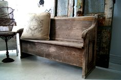 Old Weathered Church Pew...with burlap printed pillow...old wire baskets...