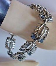 Vtg Vintage Estate Silver Filigree Leaf Blue Rhinestone Cinderella Link Bracelet