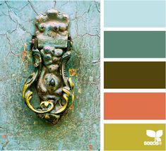 Color Knocked: Aqua Blue, Faded Turquoise, Bronze Brown, Coral and Mustard Yellow