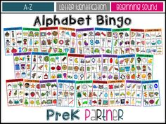 Each of the letters of the alphabet includes: 8 bingo boards 8-10 bingo cards to play. Suggested storage.