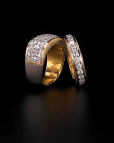 Zoltan David  Pave Diamond Bands in Platinum and 22K Gold  Diamonds in Palladium with 22K Gold Inlay Bridal Wedding Ring