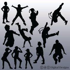 12 Hip Hop Kids Silhouette Digital Clipart by OMGDIGITALDESIGNS