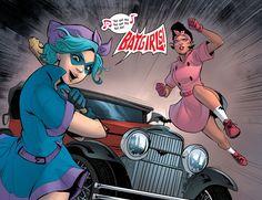 Page 5 of DC Comics Bombshells featuring the Batgirls with the batmobile Marvel Dc, Marvel Comics, Batgirl Cosplay, Wayne Enterprises, Harper Row, Batman Family, Batwoman, Batmobile, Comics Online