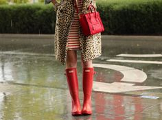 Red, hunter boots Red, celine