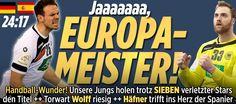 #Deutschland #Europameister.Und jetzt auch sicher für #Olympia 2016+die #WM2017 qualifiziert! http://sportdaten.bild.de/sportdaten/livekalender/handball/handball-em/ma2522765/deutschland_spanien/direkter-vergleich/ http://www.bild.de/sport/mehr-sport/handball-em/handball-finale-44379396.bild.html     YES,after @AngeliqueKerber won #AusOpen GER #Handball #Europa-Meister! What a great WE for GER,ToldU,NiceAlwaysWorthy
