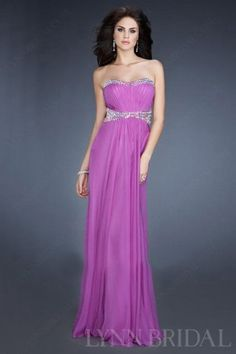 Ruched Column Sweetheart Floor Length Chiffon Prom Dress with Beading | LynnBridal.com