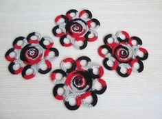 Set of 4 Cheerful Crochet Cup Pads Crochet by TaniaNeedleArt