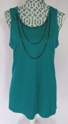New Directions Tank Top Green Chain Racerback Womens Size M #NewDirections #TankCami #Casual