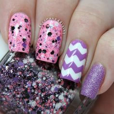 Pink and purple nails by decorateddigits