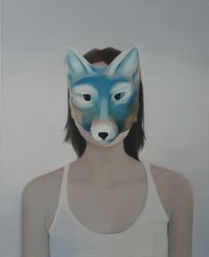 http://aniagubernat.com/get-away-from-it-all-to-paradise/ Ania Gubernat #painting #oil #canvas #portrait #mask