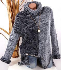 STRICK PULLOVER PLÜSCH FLAUSCH BUTTERWEICH ROLLKRAGEN SCHWARZ GRAU 36 38 40 S488 #Strickpullover #Fashion #Rollkragen