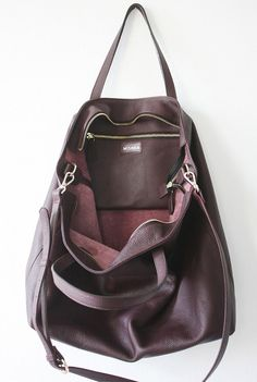 DOMI Top Zip Leather Tote Bag in Burgundy Oxblood by MISHKAbags