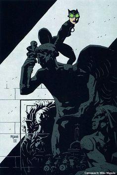 Batman & Catwoman by Mike Mignola Comic Book Artists, Comic Artist, Comic Books Art, Catwoman, Illustrations, Illustration Art, Batman 1, Dark Horse Comics, Marvel Comics