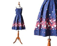 Blue Dress Vintage Dress Floral Dress Border by MinxouriVintage