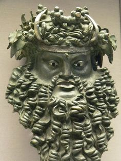 Bronze Mask of Horned Dionysos 200 to 100 BCE Ptolemaic Egypt Ancient Art, Ancient Egypt, Ancient History, Bronze, Ancient Greek Clothing, Classical Greece, Ceramic Mask, Sculptures, Lion Sculpture