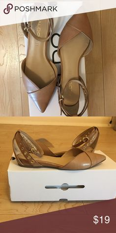 Aldo ankle strap flats, gently used Very comfortable tan flats with ankle strap and gold grommets Aldo Shoes Flats & Loafers