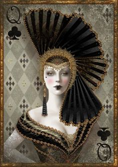 """Maxine Gadd - Queen of Clubs (oops - I was calling her Queen of Spades - apologies to those who re-pinned with the wrong caption) - not a """"Red Queen"""" - but I would love it if she were rendered in red (but then she wouldn't be the Queen of Clubs) - saw her as a cross-stitch pattern and fell in love with her on sight - bought the others to have a complete set. Very antique New Orleans (French Quarter) vibe to me. Her image makes me think also of carnival and Mardi Gras."""