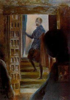 """Salvador Dalí - El aposentador Don José Nieto Velazquez según la pintura """"las Meninas"""" de Velazquez, Museo del Prado. 1982. Óleo sobre lienzo. 140 x 100 cm. Fundación Gala-Salvador Dalí. Figueras. Donación de Dalí al Estado español. Figueras. España."""