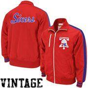 Mitchell   Ness Philadelphia 76ers Red Captains Full Zip Track Jacket  Philadelphia 76b0547f4