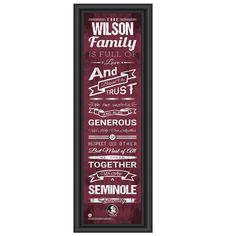 FSU Seminoles Personalized Family Cheer Print   Get Letter Art   FSUFAM