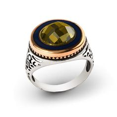 Men Ring 925 Silver, Peridot Stone Size 8-9-10-11 US Men's Gemstone Jewelry #IstanbulJewellery #Statement
