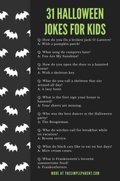 31+ Halloween Jokes for Kids That Will Have Them Rolling • This free printable included fun jokes for kids. Put them in their lunchbox or have a great joke exchange over breakfast. These are great! The Simple Parent