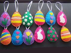 12 Easter Egg felt Ornaments or Bowl fillers Set of 12 Handmade 1 dozen