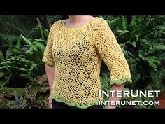 How to crochet a raglan sleeve sweater using pineapple stitch - Part 1 of 3 - YouTube