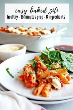 Your whole family will love this easy baked ziti recipe. It's packed with satisfying flavor, and a pinch to throw together! Easy Healthy Pasta Recipes, Baked Pasta Recipes, Healthy Pastas, Healthy Meals For Kids, Healthy Chicken, Seafood Recipes, Healthy Food, Drink Recipes, Easy Baked Ziti