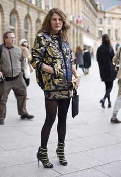 The inimitable Anna Dello Russo wearing Marc Jacobs jacket, via Streetpeeper