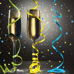 Raise your glass for a celebratory toast!  Our stunning New Year Pop Beverage Napkins feature two flutes filled with golden champagne on a light to dark gradient background.  Ribbons and confetti in blue, green, and yellow swirl around the two flutes and are sprinkled festively throughout the image.  These 2-ply napkins are durable and absorbent.  They are perfect for drink bars and dessert bars, either spread out in a pretty fan or stacked for ease of use.  The paper napkins perfectly ...