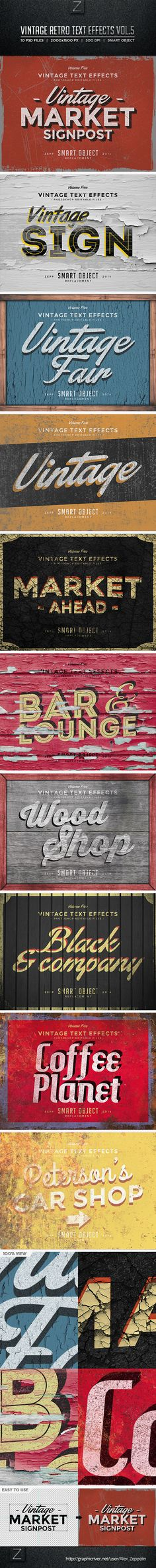 Vintage Text Effects Vol.5 — Layered PSD #mock-up #vintage • Download ➝ https://graphicriver.net/item/vintage-text-effects-vol5/8774175?ref=pxcr