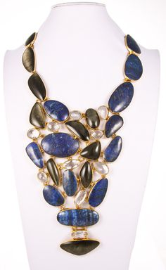 Style# ALN01: Gold Sheen Obsidian, Lapis Lazuli & Clear Quartz Necklace by Charles Albert. Retail $1,499