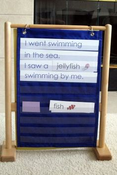 Cute idea for ocean unit and pocket chart. Could make a table chart stand using pvc pipes? Ocean Activities, Preschool Activities, Preschool Plans, Preschool Education, Kindergarten Literacy, Reading Activities, Pocket Chart Stand, Pocket Charts, Oceans Song