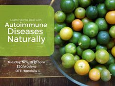 Learn how to heal your body from autoimmune diseases naturally with Dr. Allison Bachlet. Auto-immune diseases can affect any organ system of the body and are often behind thyroid gut and joint problems. Learn about if this may the case for you and testing / treatment options available.  Autoimmune Diseases Workshop  DTE Honolulu $20/student  RSVP required Get the details via our profile link  #eathealthybehappy #autoimmune #honolulu #naturalhealing
