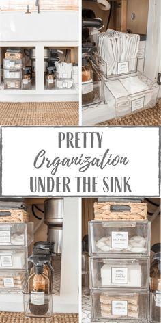 Under Kitchen Sink Organization, Towel Organization, Under Sink Storage, Home Organization Hacks, Bathroom Organisation, Organizing Ideas, Apartment Kitchen Organization, Sink Organizer, Simply Beautiful