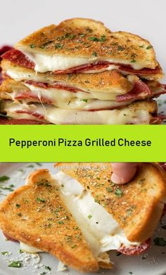 Pepperoni Pizza Grilled CheeseTake your favorite grilled cheese sandwich and stuff it turn it into a pepperoni pizza! This fun twist on a classic is stuffed with mozzarella, pepperoni and sandwiched between two pieces of buttery garlic toast. Grilled Cheese Avocado, Grilled Cheese Recipes, Grilled Pizza, Grilled Sandwich, Sandwich Recipes, Pizza Recipes, Grilled Zucchini, Barbecue Recipes, Grilled Vegetables