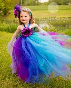 Purple n Turquoise  Peacock Flower Girl Tutu Dress