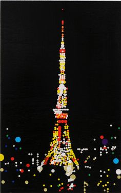 "yukino-art: ""Tokyo Tower Mixed media, Sticker on Panel 530mm × 410mm 2013 SOLD """