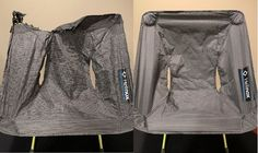 My #Helinox Zero Chair is so lightweight that it has found it's way in to the campfire more than once. One wind gust while you are grabbing firewood hanging a bear bag etc. and this is what you get. Before and after shot with a new and recently purchased seat cover.