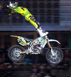 Edgar Torronteras takes it to the extreme while performing a trick during the World Motorcylcing Championship in Mallorca, Spain.