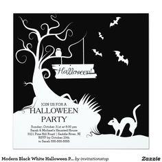 Modern Black White Halloween Party Invitation