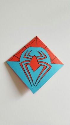 The back of Handmade Spiderman Style Bookmark - Visit to grab an amazing super hero shirt now on sale! Origami Fish, Origami Folding, Useful Origami, Origami Stars, Origami Paper, Origami Boxes, Dollar Origami, Origami Ball, Origami Flowers