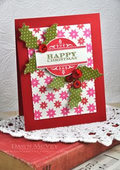 Holly Christmas Card by Dawn McVey for Papertrey Ink (October 2013)