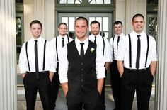 Only black shirts, black pants, red suspenders and bow ties, and red vans :-) Groomsmen Attire Suspenders, Groom Attire Black, Groom Vest, Suspenders And Tie, Vest And Tie, Wedding Suspenders, White Tuxedo Wedding, Wedding Attire, Wedding Ideas