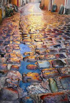 Омытые дождем и морем камни в акварелях Georges Artaud.  Georges Artaud. France. Watercolor.